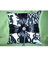 Black White Damask Ring Pillow RingBearer Amsterdam - $24.95