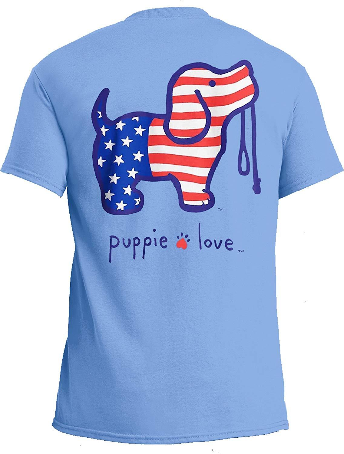 Puppie Love Rescue Dog Adult Unisex Short Sleeve Graphic T-Shirt, USA Pup
