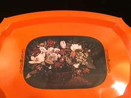 Vintage 70s orange acrylic serving tray with floral art overlay image 2