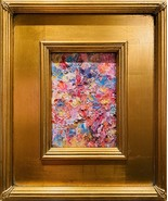 "KADLIC Abstract Impasto Landscape Original Oil Painting Gold Gilt Frame 14"" - $107.91"