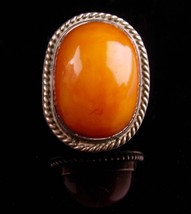 HUGE Vintage amber Ring / sterling silver - statement jewelry - size 7 -... - $325.00