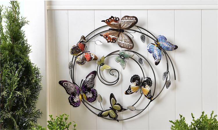 "27"" Sculpted Circular Iron Butterfly Desgin Wall Decor Piece"