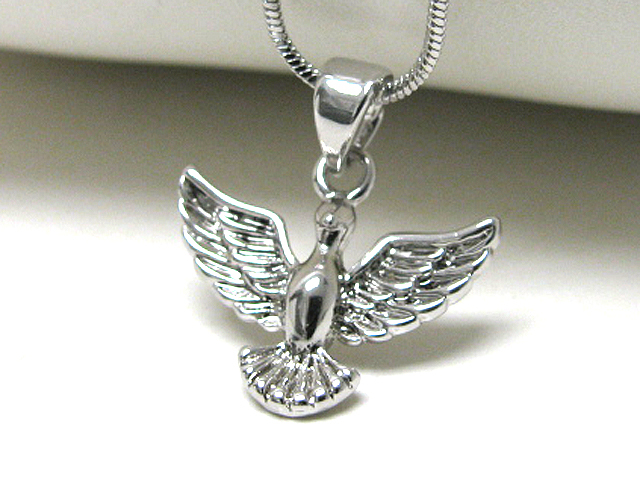 White Gold Plated Angle Bird Silver Pendant Neckalce