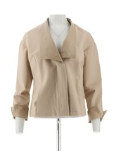 H Halston Modern Ponte Knit Jacket Leather Lapel Cuffs Sand Dune 18W NEW... - $93.04