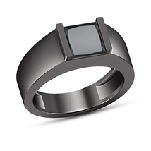 14k Black Gold Finish 1.00 Ct Princess Cut VVS1 Diamond Wedding Men's Band Ring - £72.50 GBP