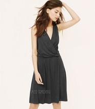 NWT Ann Taylor LOFT Charcoal Gray Draped Crossover Stylist Beautiful Dress XS/S - $39.99