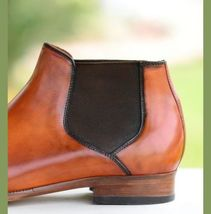 Handmade Men's Brown Leather High Ankle Brogues Chelsea Boots image 3
