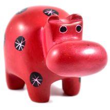 Tabaka Chigware Hand Carved Kisii Soapstone Red Black Hippopotamus Hippo Figure image 4
