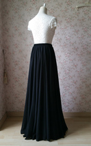 Women Black Chiffon Maxi Skirt Slit Black Silk Chiffon Maxi Skirt with Split image 4
