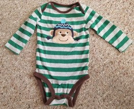 CARTER'S Green and Gray Striped Monkey Bodysuit Boys Size 3-6 months - $1.88