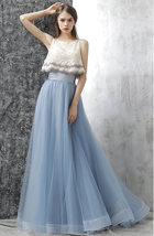 Dusty Blue Floor Length Tulle Skirt High Waisted Dusty Blue Bridesmaid Outfit image 4