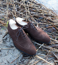 Handmade Men Chocolate Brown Wing Tip Heart Medallion Lace Up Dress Suede Shoes image 3