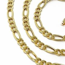 """18K GOLD FIGARO GOURMETTE ROUNDED CHAIN 4 MM WIDTH, 24"""", ALTERNATE 3+1 NECKLACE image 3"""