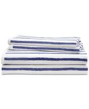 New Ralph Lauren Jensen 4 Piece Queen Sheet Set White Blue Striped 100% ... - $61.73