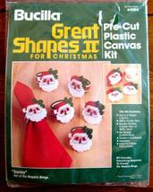 Bucilla Christmas Plastic Canvas Santa Napkin Rings set of 6 Kit #61004 New - $12.50