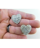 Vintage Earrings Post Silver Tone Hearts Rhinestones Post  A12 - $12.86