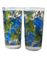 2 Stained Glass Grapes Tumblers El Mercer Mid Century Barware Anchor Hoc... - $13.94