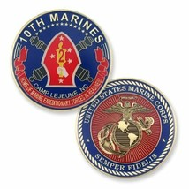 "MARINE CORPS 10TH MARINES CAMP LEJEUNE 1.75"" CHALLENGE COIN - $16.24"