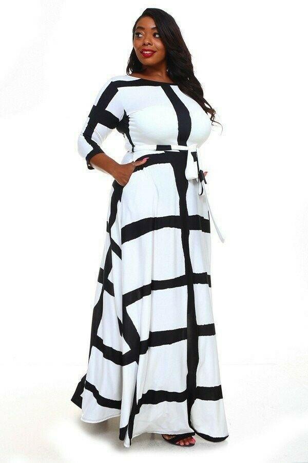 Black/White Fit & Flare Maxi