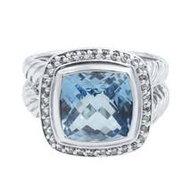 David Yurman Sterling Silver Blue Topaz and Diamonds Albion Ring SZ7.5 - $950.00