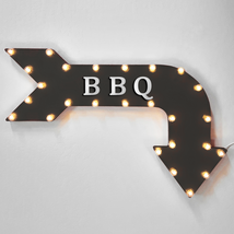 """36"""" BBQ Curved Arrow Sign Light Up Metal Marquee Vintage Cafe Barbecue F... - $155.93+"""