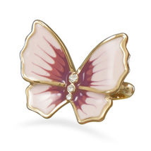 Gold Plated Butterfly with Pink CZ Accents Ring - $26.99