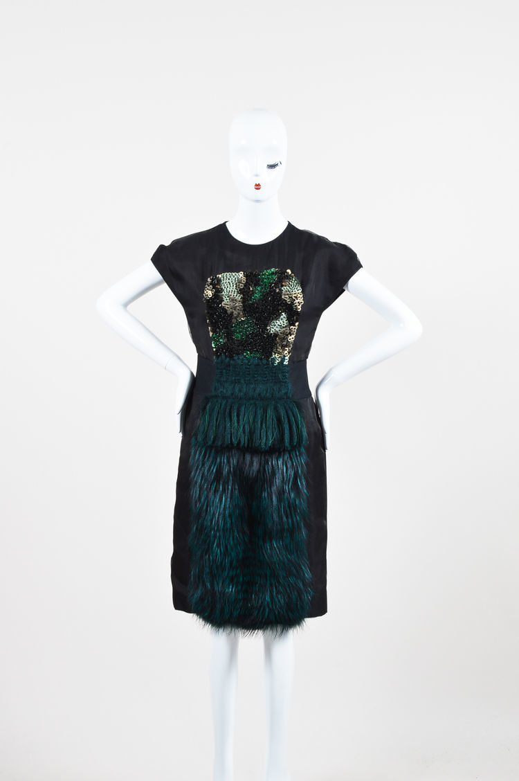 Fendi Black and Green Silk Blend Fox Fur Panel Embellished SS Dress SZ 42 image 2