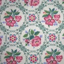 Vintage Barkcloth Fabric Rose Vignettes Rose Fl... - $25.00