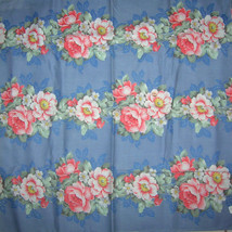 Vintage 30s Barkcloth Era Fabric Cottage Roses ... - $102.00