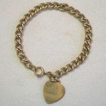Antique Victorian 12k GF Gold Filled Starter Charm Bracelet Heart Charm ... - €107,59 EUR