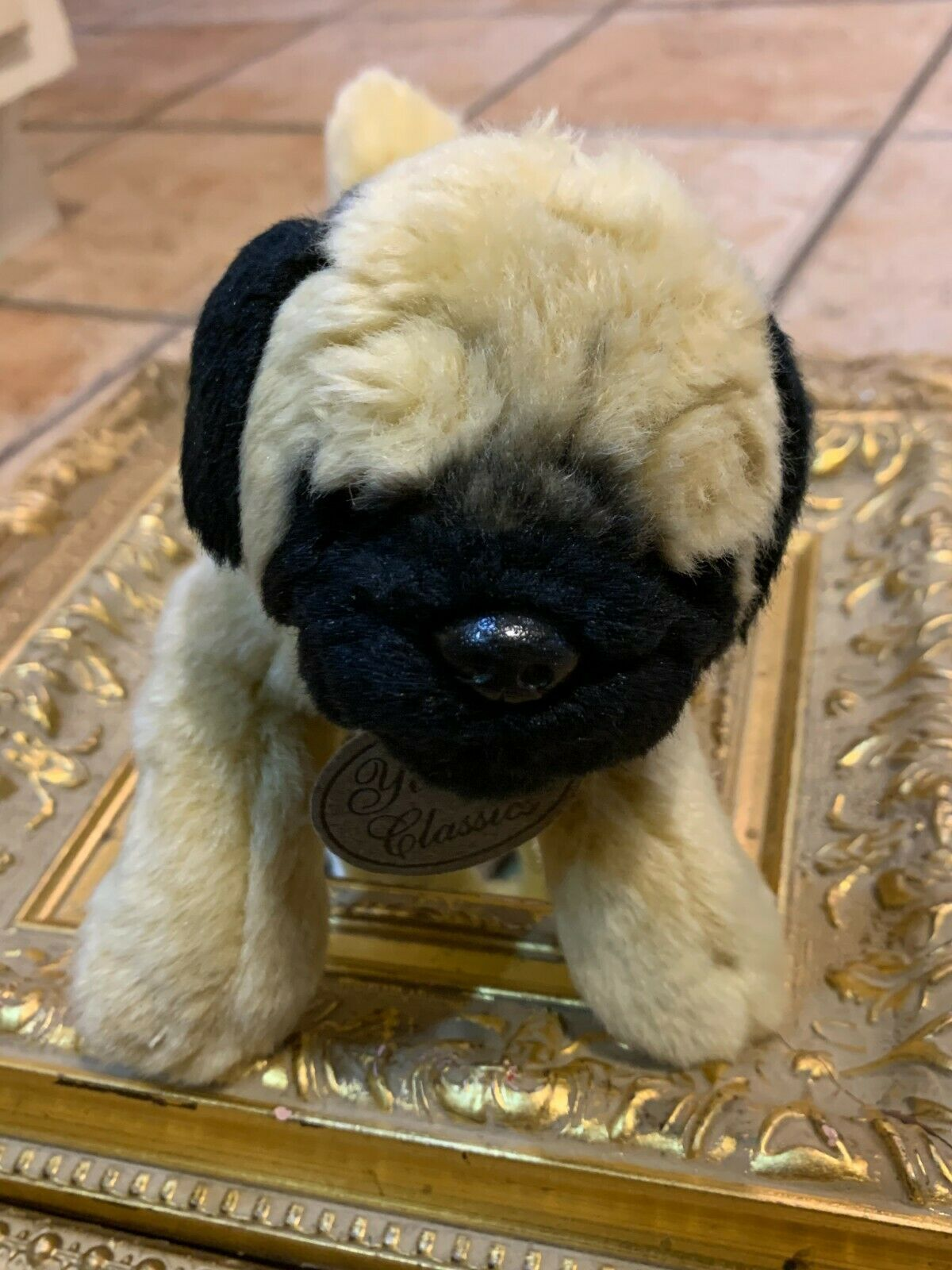 "YOMIKO CLASSIC RUSS BERRIE TAN BLACK PUG DOG 10""  STUFFED ANIMAL NEW 25371 - $17.99"
