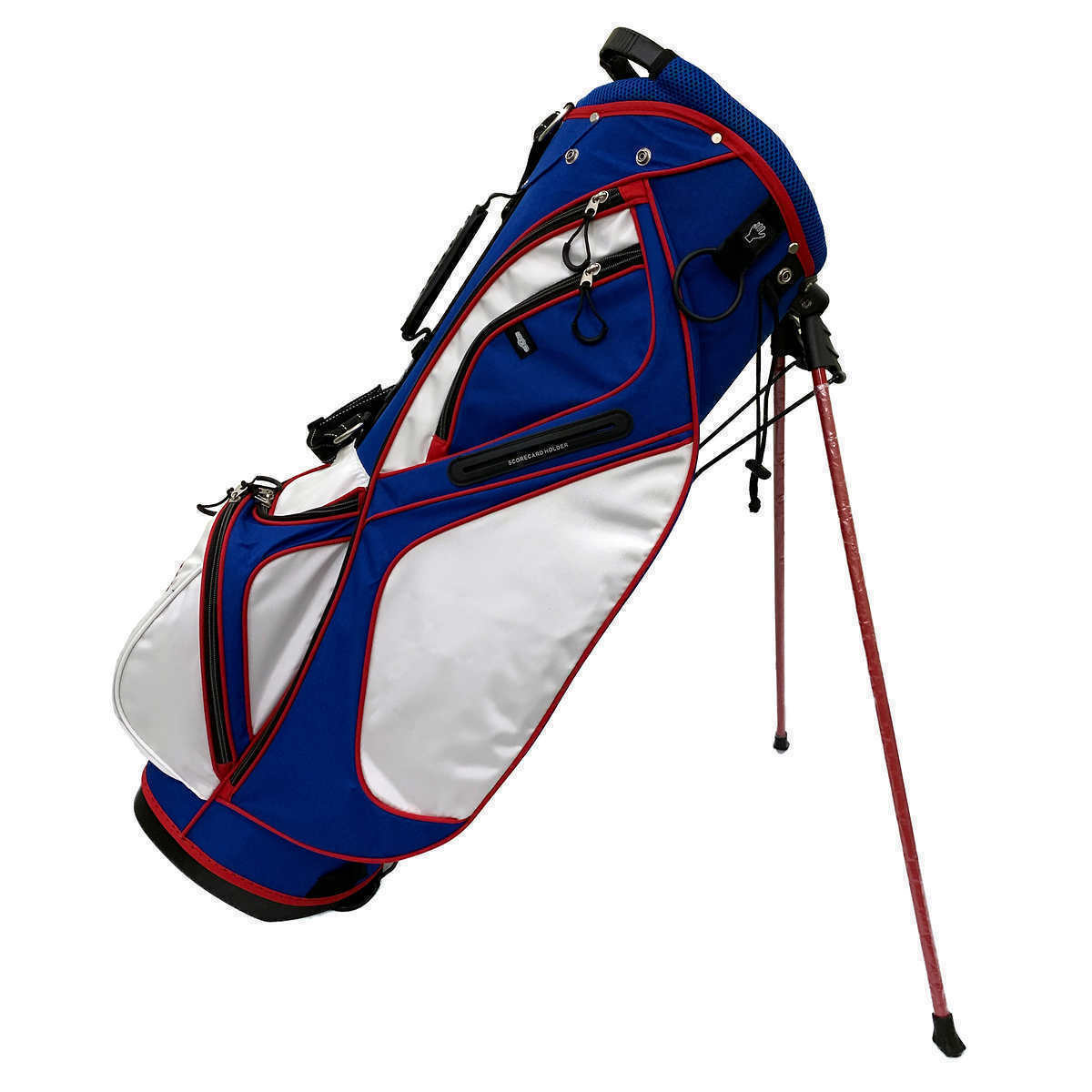 AVC Red White & Blue America USA 14 Ways Golf Cart-Friendly Stand Bag, Rain Hood