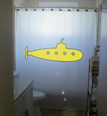Yellow submarine shower curtain  65