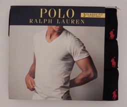 3 POLO RALPH LAUREN BLACK 100% COTTON V NECK T SHIRTS UNDERSHIRTS S M L ... - $33.56+