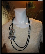 Vintage ART DECO KARLA JORDAN Mother of Pearl and Onyx Necklace - FREE S... - $3.512,98 MXN