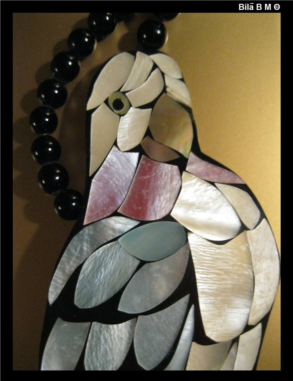Vintage ART DECO KARLA JORDAN Mother of Pearl and Onyx Necklace - FREE SHIPPING