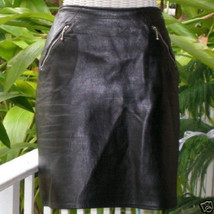 Vintage Punk Rocker Black Leather Zipper Mini Skirt Firenze Saks Fifth A... - $75.00