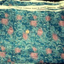 Vintage Royal Gardens Collection Teal Floral Fa... - $25.00