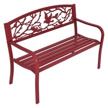 Modern Red Metal Patio Garden Bench Park Yard Outdoor Furniture High Qua... - $146.03