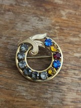 Vintage Gold Circle Pin With Clear and Colored Glass Rhinestones Rare EUC - $30.00