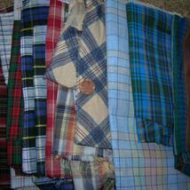 Large Vintage Homespun & Plaid Craft Fabric Des... - $20.00