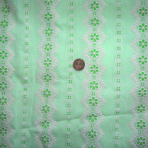 Vintage 50s Flocked Floral Striped Cotton Fabri... - $45.00