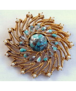 Sarah Coventry Azure Brooch Turquoise Faux Pear... - $14.99