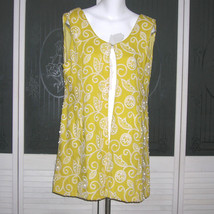 Vintage Minna Lee Embroidered Nailhead Linen Dress Topper Sleeveless Ves... - $125.00