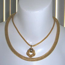 Thick Vintage Gold Mesh Rope Snake Necklace Duo Set - $55.25