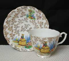 Vintage REGINA Bone China TEA CUP & SAUCER Gold Leaves Victorian Lady - $19.39