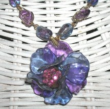Indie Vintage Lucite Flower Necklace Amethyst Beads Vintage Crackle Glass - $85.00