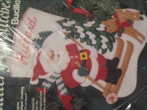 "Bucilla - Skiing Santa - 15"" Felt Applique Stocking Kit 33701"