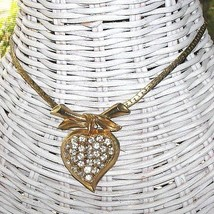 Vintage 40s Rhinestone Heart Pendant Necklace Coro Maybe - $42.50