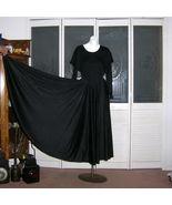 Vintage 70s Black Disco Ruffled Disco Dance Dress Leotard & Full Sweep S... - $100.00